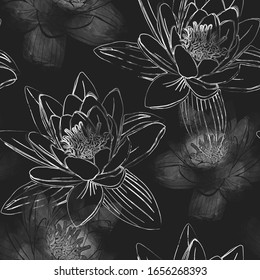Seamless pattern with flowers of lotus.  Mix-media design. Digital painting and watercolor textures. Good design for textile, wrapping paper, backdrop or wallpaper.