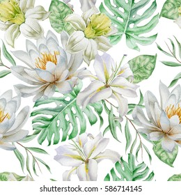 Seamless pattern with flowers. Narcissus. Lily. Monstera. Watercolor illustration. Hand drawn.