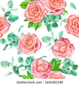 Seamless pattern with flowers on a white background. Watercolor Floral pattern with roses and eucalyptus branches.
