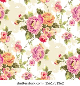 Seamless pattern with flowers. Pink, yellow and purple colored roses and pastel toned shaded backdrop are very harmonious. Suitable choise for clothing, wallpaper and duvet cover.