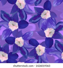 Seamless pattern with flowers. Pattern for print, advertising, web design. Tulips. Stylization: watercolor.