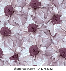 Seamless pattern with flowers. Pattern for print, advertising, web design. Stylization: watercolor. Pion