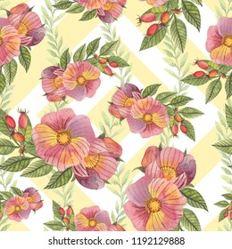 Seamless pattern with flowers and rose hips in watercolor style. Can be used for fabric, wrapping paper, postcard design, invitations, greetings, etc.