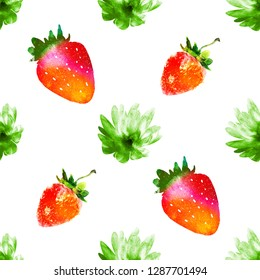 Seamless pattern with flowers and strawberries