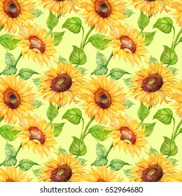 seamless pattern, flowers of sunflower. watercolor pattern,hand painted .ornament for textile printing paper