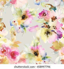 Seamless pattern with flowers watercolor. Gentle colors. Handmade.