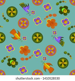 Seamless pattern with flying abstract birds and flowers. The bird holds a flower in its beak. Cartoon characters, folk motifs. Green background