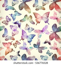 Seamless pattern with flying butterflies.  Watercolor colorful vintage background.