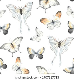 Seamless pattern with flying colorful butterflies. Watercolor illustration on white background.