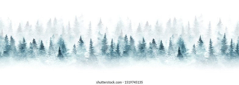 Seamless pattern with foggy spruce forest. Fir trees isolated on white background.