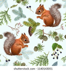 Seamless pattern with forest branches and squirrels on light blue. Highly detailed background design for Christmas, new year, festive products. Best for wrapping paper, fabric, packaging