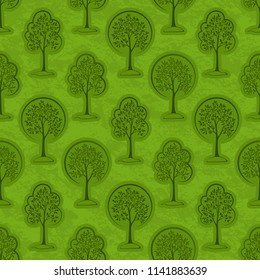 Seamless Pattern, Forest, Trees Outline Pictograms on Green Tile Background.