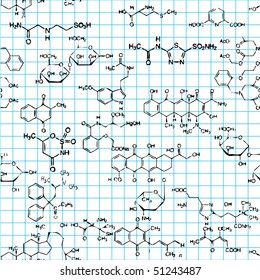 Seamless pattern with formulas of organic substances. Vector version available