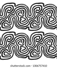 Seamless pattern with free hand drawn waves. Endless stylish texture. Monochrome stripes isolated on white background