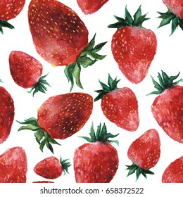 Seamless pattern with fresh bright strawberries.