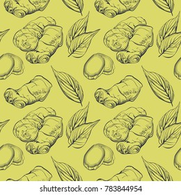 Seamless pattern with fresh ginger root and leaves. Ginger root hand sketch illustration. Hand drawn botanical sketch style. Hand drawn eco design for fabric and wrap paper.