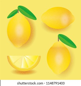 Seamless pattern of fresh, ripe lemons on a bright, grainy yellow background, illustrated with a noise texture.
