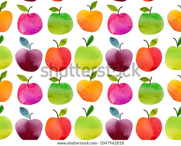 Seamless pattern with fruits apples and pears