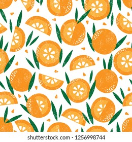 Seamless pattern with fruits. Stamp textured. Great for fabric, textile, wrapping paper. JPEG. Hight resolution