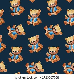 Seamless pattern with funny cartoon bears.  Drawing with watercolor