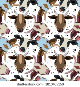seamless pattern with funny cartoon cow heads