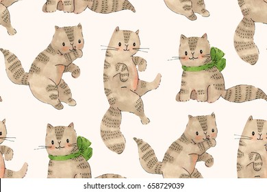 Seamless pattern - funny cartoon kittens. Drawing markers and ink.  Hand-drawn illustration.