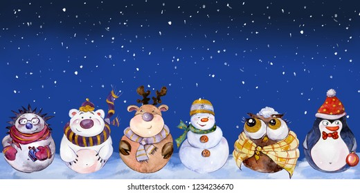 Seamless pattern with funny Christmas characters (owl, snowman, caribou, polar bear, penguin, hedgehog) on night sky background. Watercolor painting. Hand painted new year greeting card