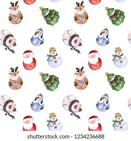 Seamless pattern with funny Christmas characters (Snow Maiden, Santa, caribou, polar bear, Christmas tree, snowman) on white background. Watercolor painting. Hand painted illustration.