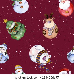 Seamless pattern with funny Christmas characters (Snow Maiden, caribou, polar bear, Christmas tree, snowman) on snowy background. Watercolor painting. Hand painted illustration.