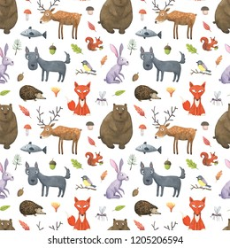 Seamless pattern with funny watercolor forest animals. Hand painted bear, fox, wolf, deer, hedgehog, hare, fish, squirrel, tit and mosquito. Design perfect for print fabric textile and baby print