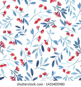 Seamless pattern with garden flowers, branches. Rose, blue colors. White background. Modern watercolor
