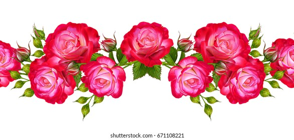 Seamless pattern. Garland of beautiful bright red roses, buds, green leaves. Isolated on white background. Horizontal floral border.
