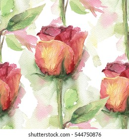 Seamless pattern with gentle watercolor roses.