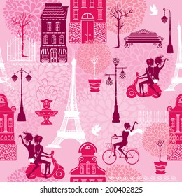 Seamless pattern with girls riding on scooter and bicycle, houses silhouettes and town landscape with Effel Tower on a pink floral background.  Ready to use as swatch.  Raster version