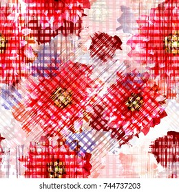 Seamless pattern with glitched flowers. Floral background with watercolor effect. Textile print for bed linen, jacket, package design, fabric and fashion concepts