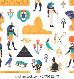 Seamless pattern with gods, deities and mythological creatures from ancient Egyptian mythology and religion, sacred animals, symbols, architecture and sculpture. Colorful flat illustration