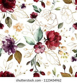 Seamless pattern with gold and burgundy flowers and leaves. Hand drawn background.  floral pattern for wallpaper or fabric. Flower rose. Botanic Tile.