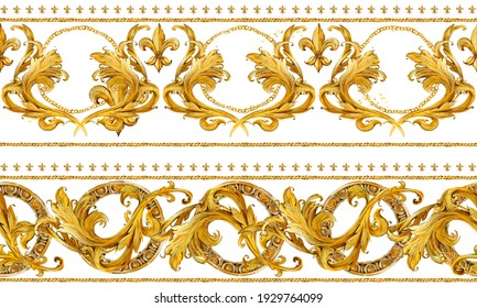 seamless pattern gold chains, vintage damask curl. luxury illust