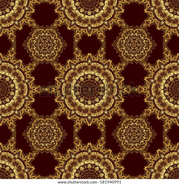 Seamless pattern with gold ornament. Golden texture on a brown background.
