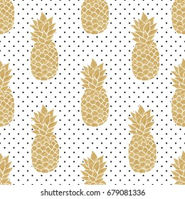 Seamless pattern with gold pineapples on polka dot background. Black white and gold pineapple pattern. Summer tropical background. Illustration painting