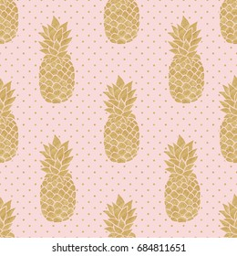 Seamless pattern with gold pineapples on polka dot background. Pink and gold pineapple pattern. Summer tropical background. Illustration painting