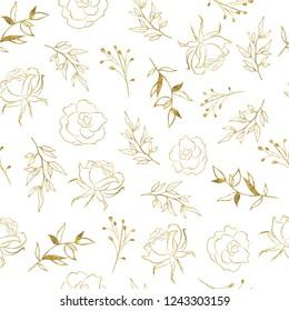 Seamless pattern with gold tropical leaves flowers rose. Botanical elegant decorative illustration