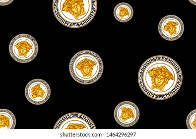 Seamless Pattern of Golden Antique Decorative Versace Motif on Black Background. Fabric Design Background Ready for Textile Print.