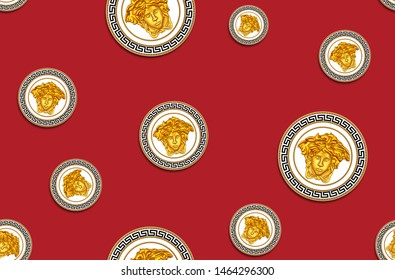 Seamless Pattern of Golden Antique Decorative Versace Motif on Dark Red Background. Fabric Design Background Ready for Textile Print.