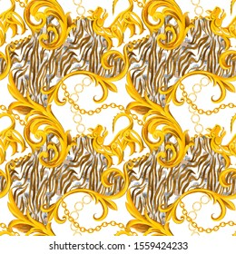 Seamless pattern with golden Baroque elements and watercolor striped zebra leopard artistic animal skin. Chain, border, accessories and jewelry. Victorian, Rococo, Baroque style background.