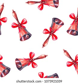 Seamless pattern with golden bells-bells and a red bow on a white background