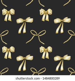 Seamless pattern of golden bows, hand drawn on a dark background