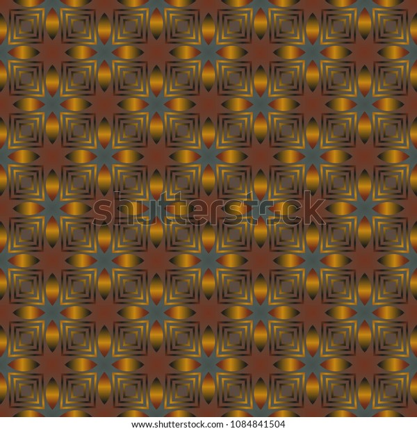 Seamless pattern with golden color and simple geometric ornate for product, gift or card background