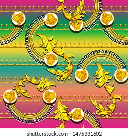 Seamless pattern of golden decorative baroque with colorful gradient. Versace scarf design.