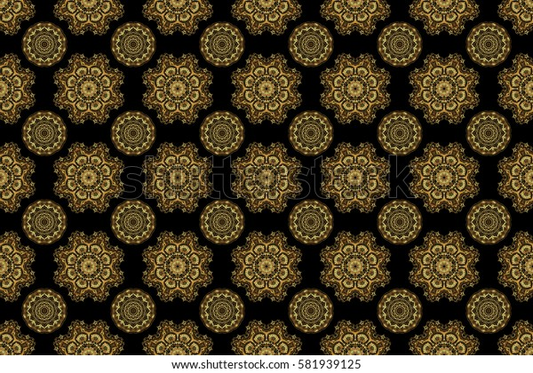 Seamless pattern with golden elements, curls and ornaments on a black background. Raster oriental style arabesques.